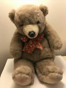 """Vintage 1985 GUND Collectors Teddy Brown Bear with Suede Nose & Red Bow 20"""""""