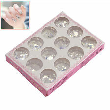12 Compartments Shiny Paillette Kit for Nail Art Tips Decoration Round Star ~