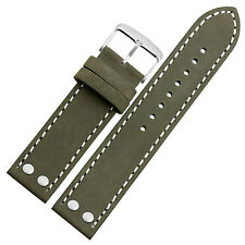 New 20mm Green Genuine Leather Watch Strap Band Pilot Style Buckle White Stitch