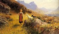Oil painting Hans Dahl - an alpine landscape with a shepherdess and goats canvas