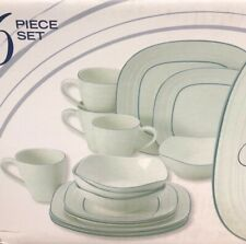 Mikasa Swirl Square Banded Blue Set Includes 13-Pieces Dinnerware