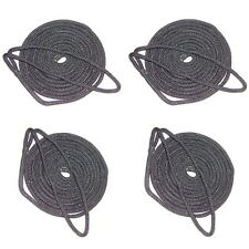 4 Pack of 3/8 Inch x 6 Ft Black Double Braid Nylon Fender Lines for Boats