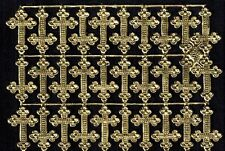 GOLD CROSS RELIGIOUS DIORAMA CHURCH ALTAR SHRINE SMALL GERMANY DRESDEN PAPER