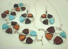 925 Silver Genuine Baltic Sea Mixed Amber Larimar Earring Bracelet Necklace Set