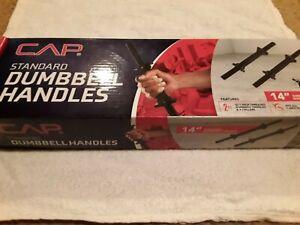 "2 CAP Standard 1"" Free Weight 14"" Adjustable Barbells Dumbells Handle Black Set!"