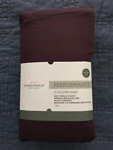 Target Threshold Performance Pillowcases Dark Purple Eggplant STANDARD Cotton