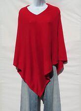 "100% Cashmere Knit Poncho ""V-Neck"" Himalayan Yarn HandLoomed 1 Size Tomato Red"