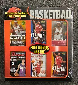 12 Unopened Sealed 2005-06 Basketball Packs w Bowman Chrome Look For LeBron Kobe