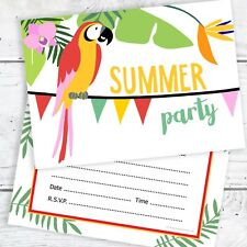 Summer Party Invitations - Tropical - Ready to Write with Envelopes (Pack 10)