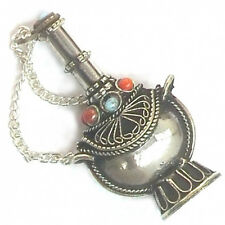 "Big Tibetan Filigree 8 Turquoise Red Coral Spoon Snuff Bottle Pendant -2.5"" Tall"