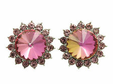 """6c Contemporary Floral Design Pink Crystal """"Flower"""" Stud Earrings"""