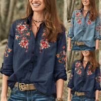 ZANZEA UK Women Casual Collared Button Down Embroidered Denim Shirts Blouse Tops
