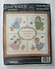 "Janlynn Cross stitch kit -Baby Wares Birth Announcement Record 14"" x 14"""