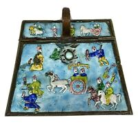 """Vintage Chinese Enamel Brass Hinged Box  5 1/2"""" x  4"""" Asian Horse Chariot ms2"""