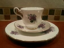 Royal Grafton Trio Purple Violet Flowers, tea cup & saucer & lunch / salad plate