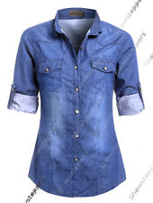 Plus Size 14 16 18 20 NEW Womens Denim Shirt Ladies Classic Fitted Shirts Blue
