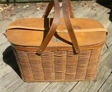 Antique Hawkeye Extra Large Wicker Insulated Picnic Basket Complete With Inserts