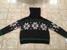 Polo Ralph Lauren Men Snowflake Sz MEDIUM Sweater Jacket Coat Black White New