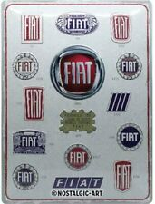 Fiat History In Badges large embossed metal sign 400mm x 300mm (na)