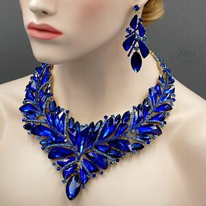 18K Gold Plated GP Sapphire Blue Crystal Necklace Earrings Jewelry Set 04526