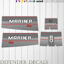 Mariner 60HP Sixty Two stroke outboard engine decal sticker set kit reproduction