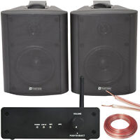Bar/Restaurant Wi-Fi Wall Speaker System Black – 80W Wireless Amp HiFi Music Kit