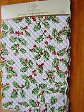 LENOX HOLIDAY TABLE RUNNER~14x90 HOLLY BERRY & IVY DECOR~AMERICAN BY DESIGN~NWT