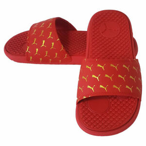 NWT PUMA COOL CAT BOLD 2 AUTHENTIC WOMANS RED GOLD SLIP ON SLIDES SANDALS SIZE 7