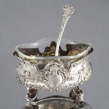 Antique French Sterling Silver Salt Cellar, Spoon, Crystal Liner, Angel, Rococo