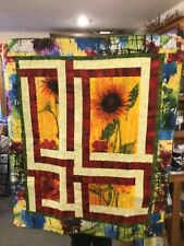 """sunflower quilted wall hanging, 42 by 48"""""""