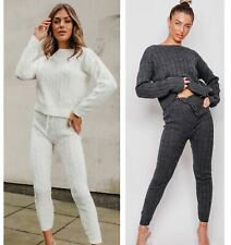Womens Winter Tracksuit Ladies Cable Knit Two Piece Set Lounge Wear