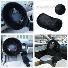 3 Pcs Furry Woolen Black Fur Steering Wheel&Handbrake&Gear Knob Cover For Autos