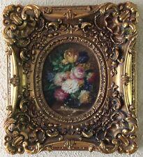 Antique Vintage Oil Painting Still Life Flower Bouquet O/C Art Baroque Frame