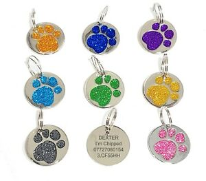 Dog Cat Pet Tag Personalised Engraved Collar ID Tags 25mm Glitter Paw Print UK