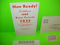 Williams SMART SET 1969 Original PINBALL MACHINE NOS Score Cards & Paper Lot