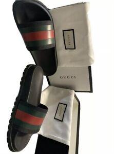 NIB Gucci Men's Web Signature Stripe Slide Sandals