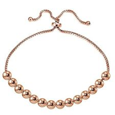Rose Gold Flashed Sterling Silver 6mm Bead Adjustable Bracelet