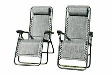 SET OF 2 Padded Garden Recliner / Lounger Chairs in Grey Weatherproof Textiline