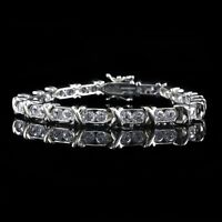 "HSN Sterling Silver 15ct Round Cut Cubic Zirconia Tennis 7.25"" Bracelet $339"