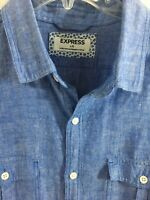 Express Men's Blue Shirt Linen Blend Size Large Long Sleeve
