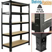 Heavy Duty 5 Tier Garage Racking Storage Shelving Units Boltless Metal Shelves