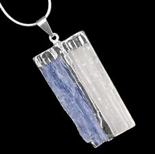CHARGED Blue Kyanite SELENITE Crystal Chakra Pendant Sterling Silver Necklace Re