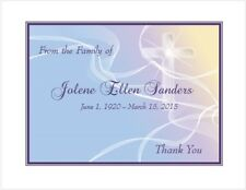 12 Sympathy Personalized Thank You Cards ~ Pastels and Cross