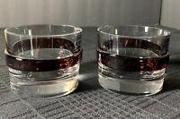 Unique Silviati Scotch/Bourbon Tumblers with Glass Band Men's Gift