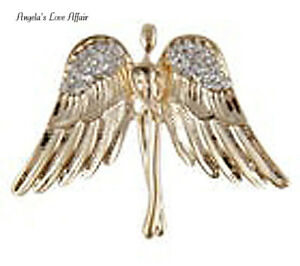 GOLD CRYSTAL GUARDIAN ANGEL WINGS BROOCH PIN MEMORY PROTECTION LOVE CHRISTMAS