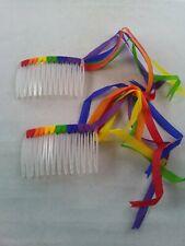 Vtg 1980's Hair Clip Comb RAINBOW STREAMERS: Pride LGBTQ: *Pair/ Set: *jj