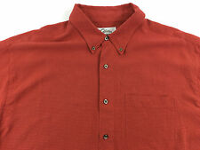 Men's XL Tri-Mountain SS Button Front Shirt Red Brick w/ Black Checks Polynosic