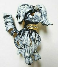 Vintage Shih Tzu Maltese Shaggy Dog Brooch Pin Signed Original By Robert