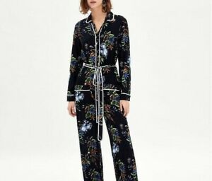 ZARA Woman NWT Tropical Palm Frond Belted Crepe Jumpsuit Size Medium