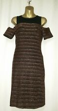 New Look Cold Shoulder Dress Metallic Bronze Size 12 Christmas Party